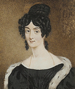 H.R.H. Princess Mary, Duchess of Gloucester, wearing black dress and ermine-trimmed black cloak by Miss Sarah Biffin (Mrs. Wright) (auctioned by Bonhams)
