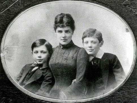 Jennie Churchill with her sons Winston and John