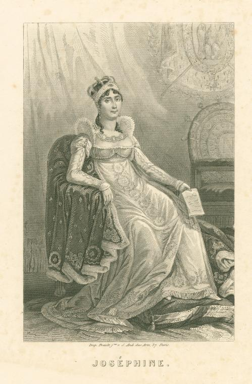 Josephine seated in court dress black and white print