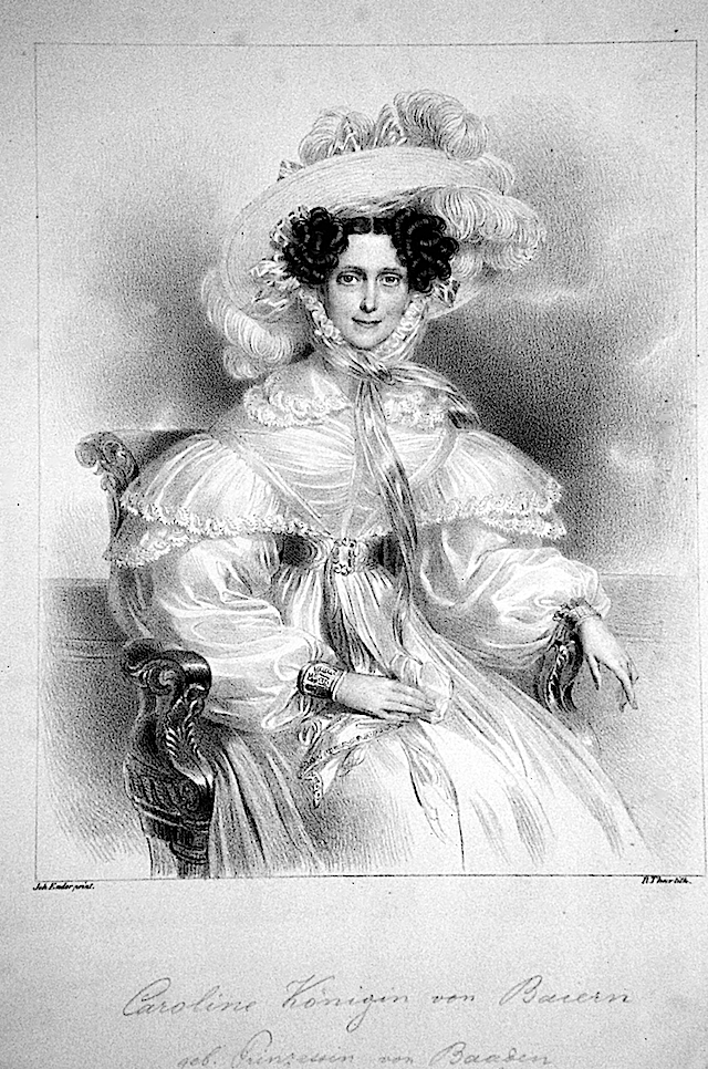 Karoline Bayern lithograph by Robert Theer after Johann Nepomuk Ender Photo - Peter Geymayer Wm