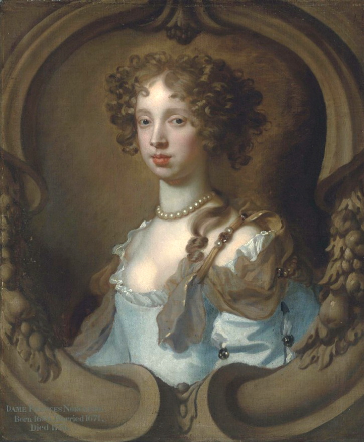 Lady Frances Norcliffe (1654-1731), bust-length, in a pale blue dress with a pearl clasp by Sir Peter Lely (auctioned by Christie's) From Christie's Web site size fixed at 50 cm high at 28.35 pixels/cm (see Christie's lot notes) inc. exp