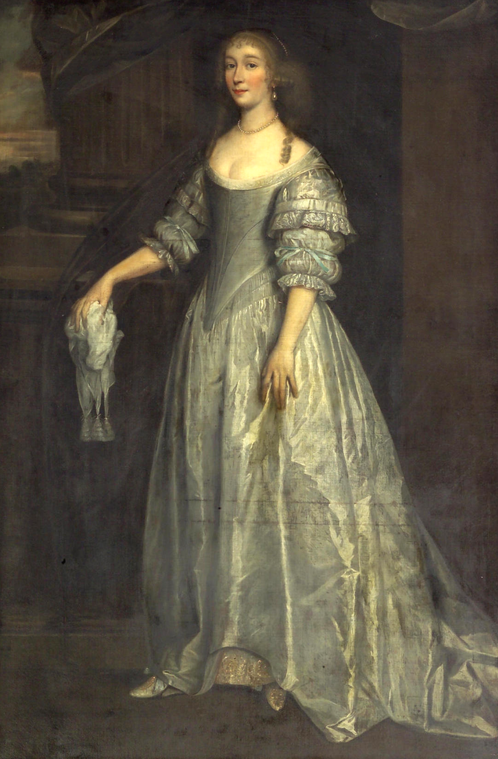 Lady full length wearing a silver silk dress by circle for 17th century wedding dresses