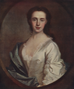 Lady Mackintosh portrait from waist up, in white dress with green robe around shoulder by Allan Ramsay (Blaikie collection, Scottish National Portrait Gallery - Edinburgh, UK) From digital.nls.uk-jacobite-prints-and-broadsides resized