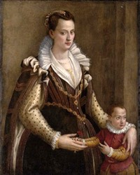 Lady with a child, traditionally identified as Eleonora de' Medici, Duchess of Mantua with her son Francesco IV attributed to Lavinia Fontana (auctioned by Dorotheum) From iamachild.wordpress.com:2013:07:29:lavinia-fontana-1552-1614-italian
