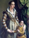 ca. 1539 Laudomia de' Medici as bride of second husband Pietro Strozzi with son from her first marriage with Alamanno Salviati by ? (location unknown to gogm)