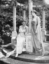 1918 Lily Elsie (left) & Lady Diana Manners in The Great Love, costumes by Lady Lucy Duff-Gordon From wfpp.cdrs.columbia.edu:pioneer:ccp-lucy-duff-gordon: via Pinterest search enlarged 1:4 detint trimmed