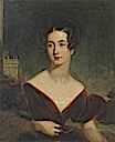 Louisa Sophia Clayton, wife of John Lloyd Clayton Esq., R.N., third son of Sir William Clayton, Bart, of Marden Park, Surrey, half-length, seated in a red velvet dress, a country house beyond by Sir Thomas Lawrence (auctioned by Christie's)