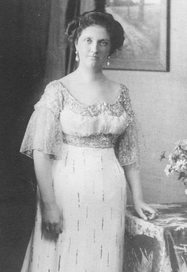 Luise of Austria wearing a neo-Empire dress detint