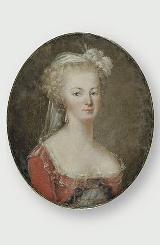 Oval portrait of Marie-Antoinette wearing a red dress