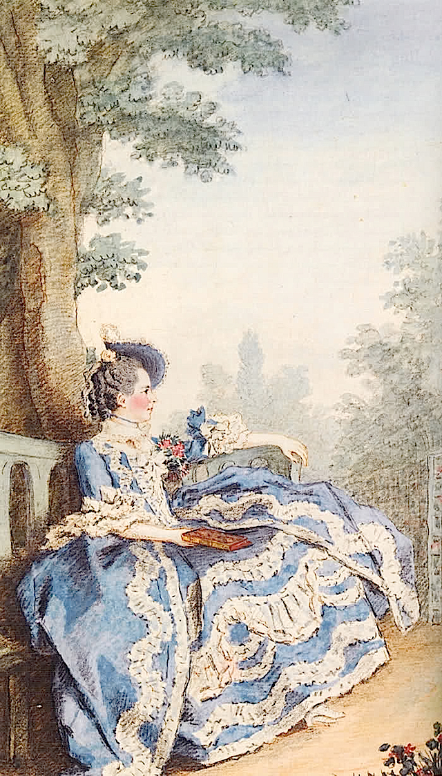 Madame d'Egmont in her garden by Louis Carrogis Carmontelle LMI katmax1 11Dec10