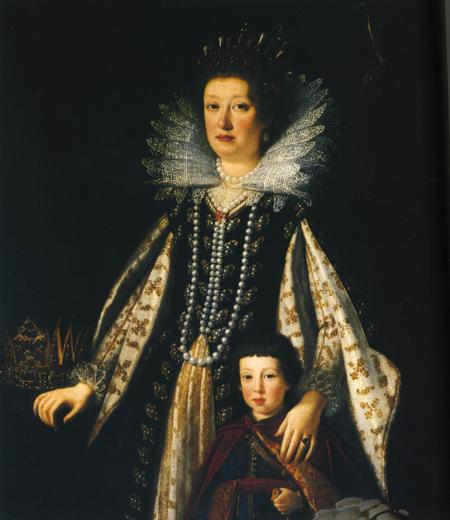 Margherita de' Medici, Duchess of Parma and Piacenza, with one of her sons, probably Onorato Farnese (1636-1656) (Not her mother Maria Magdalena of Inner-Austria!) From www.kleio.org:en:history:famtree:medici:5568