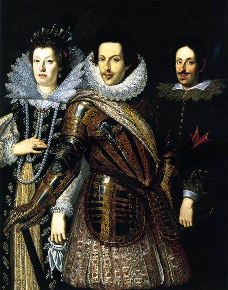 Margherita de' Medici, Duchess of Parma and Piacenza, with her eldest brother, Grand Duke Ferdinand II. (on the right side) and her father, the late Grand Duke Cosimo II. (in the middle) From www.kleio.org:en:history:famtree:medici:5568