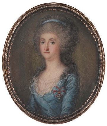 Maria Amalia of Saxony (1757-1831), wearing blue dress, sheer fill-in, a medal suspended from a blue and red ribbon pinned to her breast, her hair worn à la conseilleur and dressed with a blue bandeau by ? (Bonham's) top