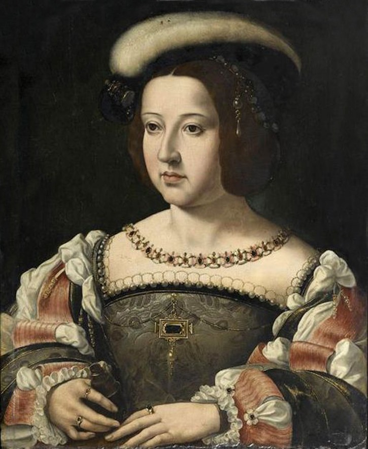 Maria of Portugal, Duchess of Viseu (18 June 1521 – 10 October 1577) by ? (location ?) From pinterest.com/dianariveraguil/royals/ fixed left, upper, and right edges X 1.5