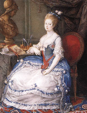 1782-1787 Maria Feodorovna wearing a hooped skirt - blue version by Benedetta Batoni after Pompeo Batoni (location unknown to gogm)