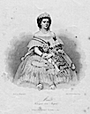 Maria Sophie wearing a very full crinoline court dress black and white print