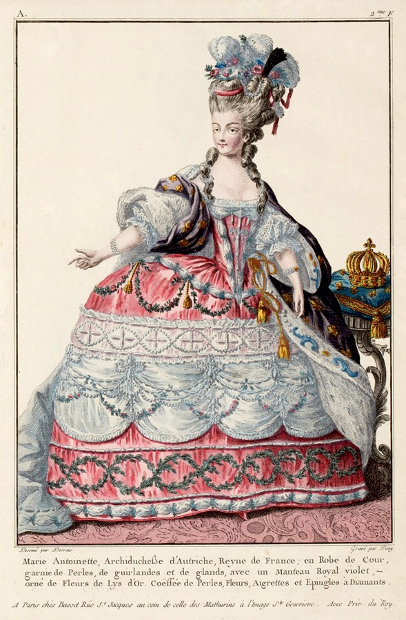 Marie Antoinette in robe du cour by Claude-Louis Desrais and Deny UPGRADE From pinterest.com:c0509:fashion-plate: