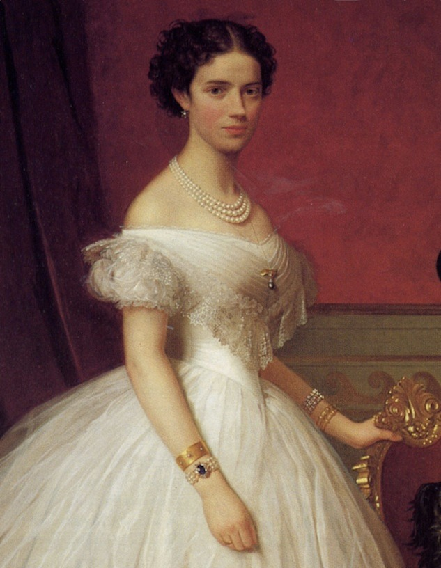 Marie Feodorovna wearing crinoline dress color portrait