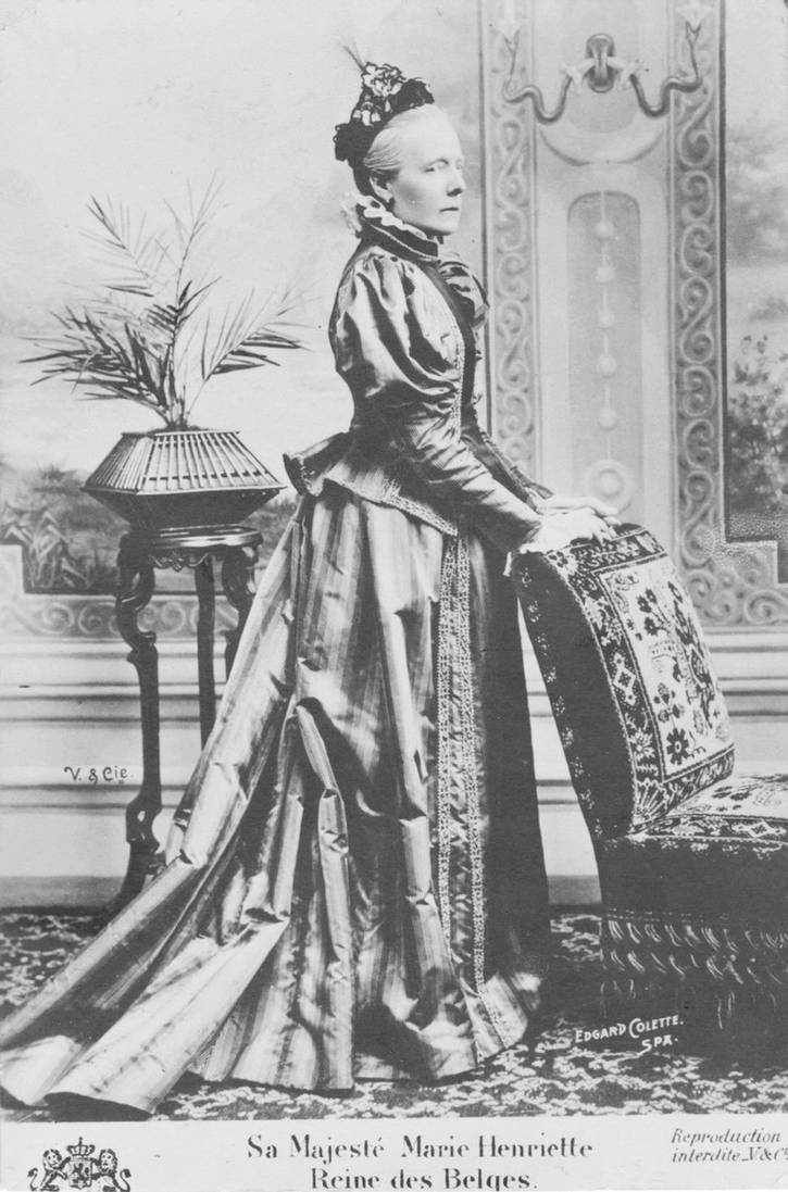 1890s (estimated) Marie Henrietta of Austria, Queen of the Belgians, Wife of Leopold II of Belgium by Edgard Colette From picclick.com:Collectibles:Postcards:Royalty:?page=16 detint increased contrast