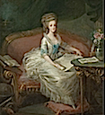 Marie Antoinette sitting on a sofa, attributed to Louis Charles Gauthier d'Agoty (location unknown to gogm)