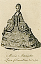 Marie-Antoinette wearing court dress beneath a mantle from NYPL