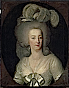 1784 Marie Antoinette wearing a white sheath dress by Wilhelm Bottner (Louvre)