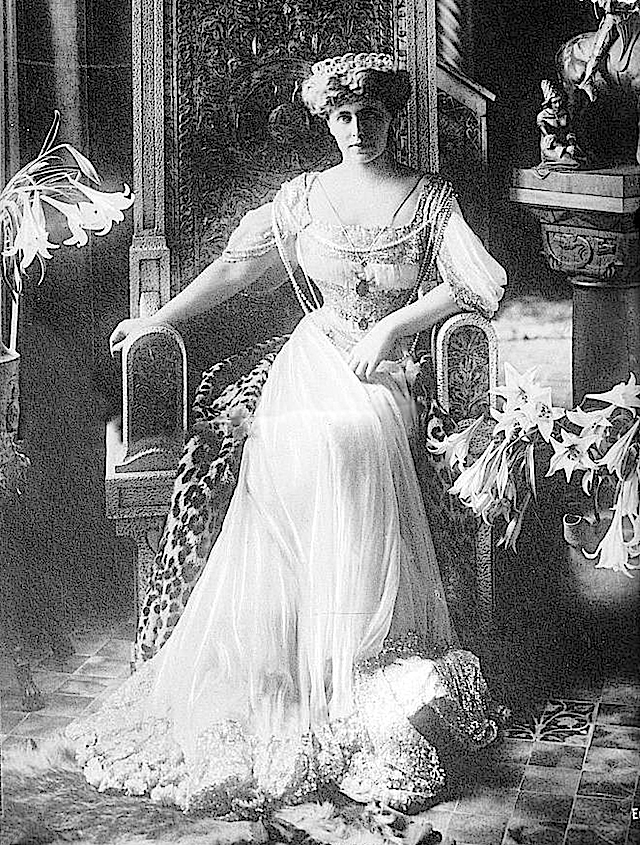 --Marie of Romania sitting wearing glitter-banded dress facing forward lower left corner fixed with Photoshop