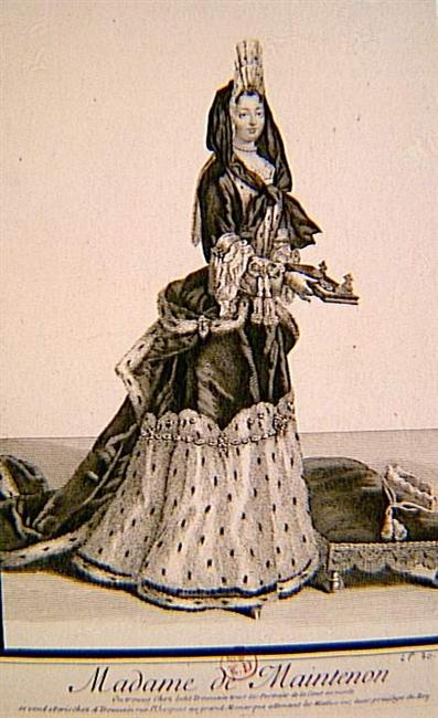Marquise de Maintenon wearing a mantua with a basket bustle and a jacket bodice