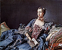 1756 Marquise de Pompadour in blue dress by François Boucher (National Galleries of Scotland, Edinburgh)