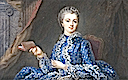 Marquise de Pompadour in blue polka-dot dress by ? (location unknown to gogm)