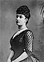 Maud wearing a second bustle period dress