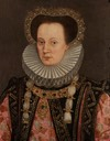 Noblewoman, said to be Queen Mary, half-length, in an embroidered pink dress with a black jewelled overdress, a ruff and a jewelled hair ornament by ? (auctioned by Bonhams)