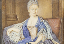 Noblewoman, seated in an interior, wearing blue dress with pink corset and ermine-trimmed lilac cloak by French school (auctioned by Bonhams) X 1.25