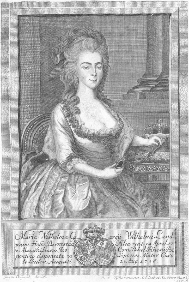 Princess Augusta Wilhelmine of Hesse-Darmstadt (1765-1796), Duchess of Zweibrücken by Joseph Anton Zimmermann Wm detint