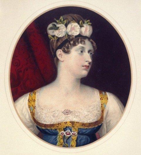 1814-1816 Princess Charlotte of Wales wearing a lace modesty piece.