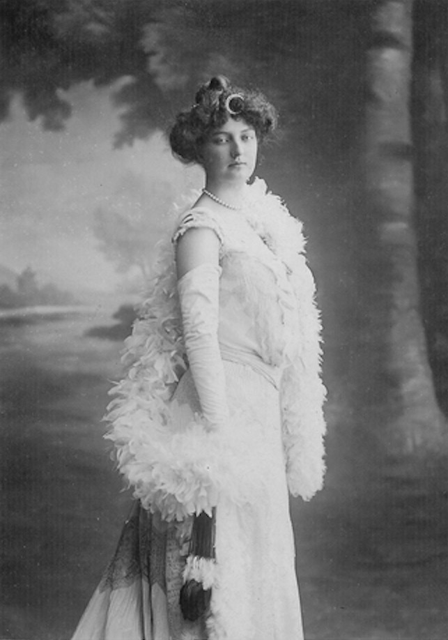 Princess Louise of Orléans with feather boa Wm detint X 2
