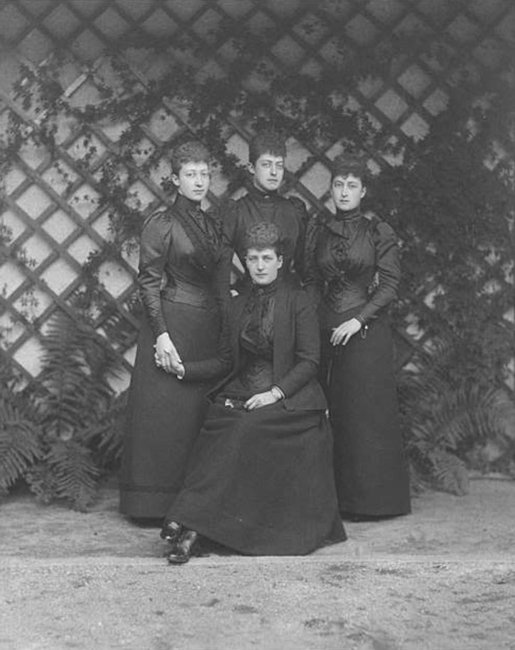 ca. 1892 Princess of Wales and her three daughters, Princesses Louise, Victoria and Maud, mourning for the death of Prince Albert Victor From tumblr.com:tagged:princess-alexandra-princess-of-wales X 2 detint increased exposure