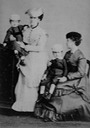 Princesses Isabel, seated and holding Pedro Augusto of Saxe-Coburgo, and her sister Leopoldina of Brazil, holding Augusto of Saxe-Coburgo in Rio de Janeiro by Insley Pacheco