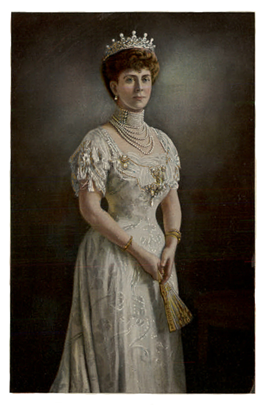 Queen mary wearing white dress and pearls post card for Pc mary s wedding dress