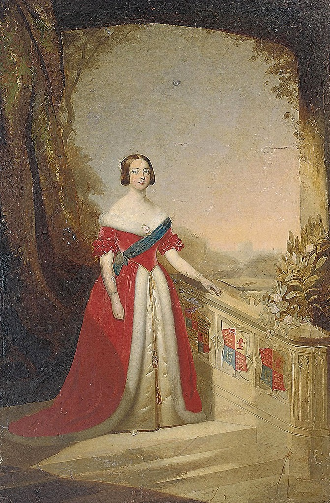 Queen Victoria Depicted In Red Dress By Grand Ladies