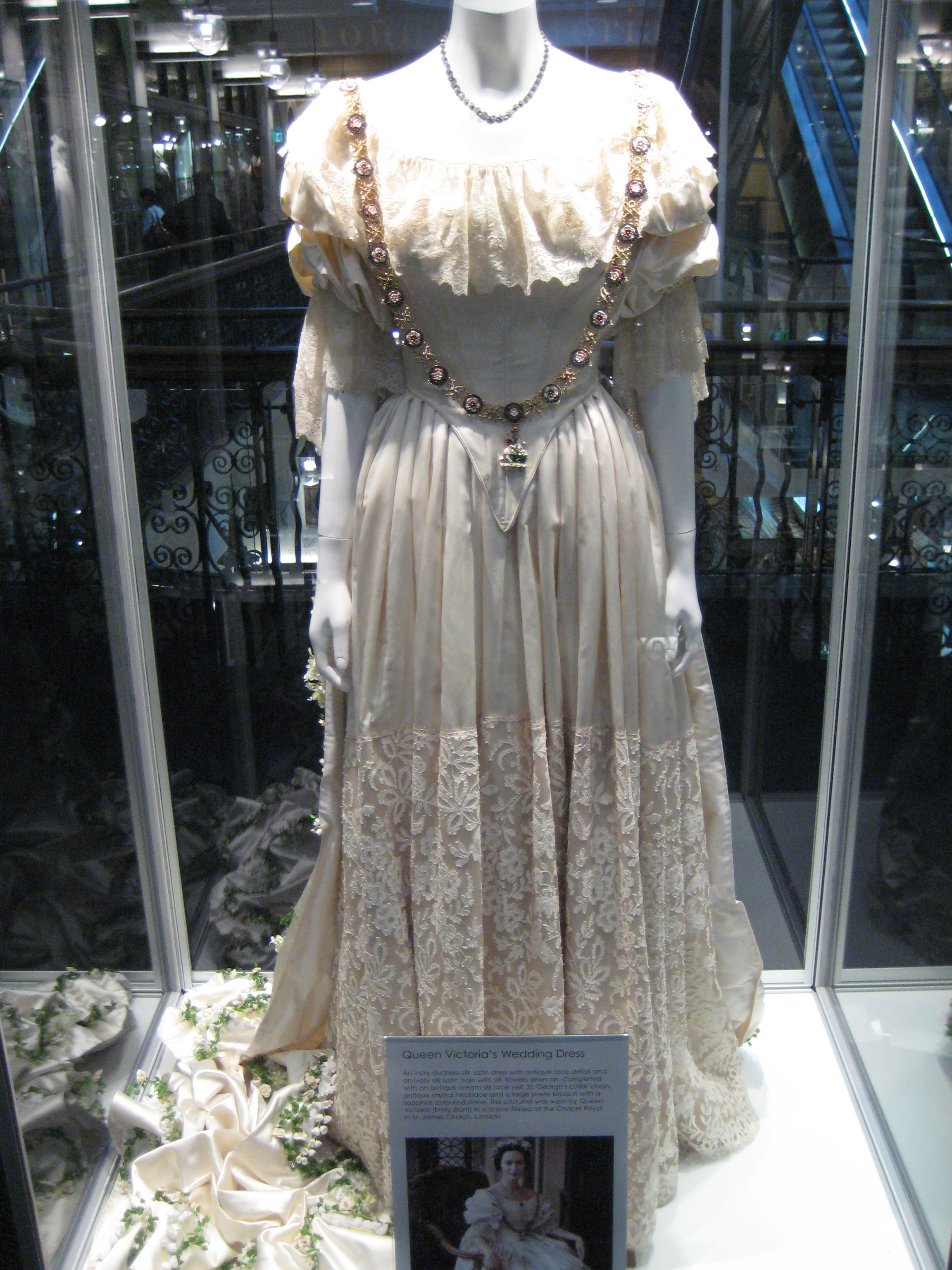 queen victorias wedding dre victorian wedding dress Queen Victoria s wedding dress used in filming Young Queen Victoria on display at Victoria Mall in
