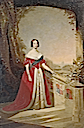 Queen Victoria depicted in red dress by ?