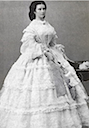 1860 Sissi standing while wearing a white gown by Ludwig Angerer