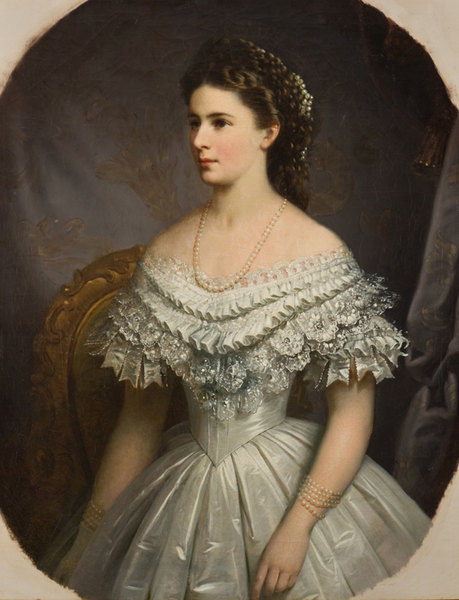 Sisi, Empress of Austria wearing dress with elaborate bertha by ? (location unknown to gogm) APFxYelena Aleksandrovna 20Mar12