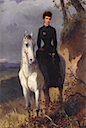Sissi wearing another black dress on a white horse by ? (location unknown to gogm)