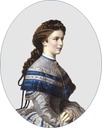 1867 Sissi wearing a gray day dress by ? (location unknown to gogm)