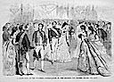 "1869 (April issue) ""State Ball at the Tuileries — Presentation to the Emperor,"" published in Harper's Weekly"
