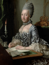 Ulrike Sophie, Princess of Mecklenburg-Schwerin (1723-1813), in a silver dress with lace cuffs, seated at a writing desk by George David Matthieu (auctioned by Christie's) size adjusted to 27.62 cm high at 59.06 pixels/cm despot deflaw