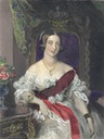 ca. 1847 Queen Victoria wearing an evening dress color print