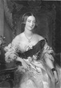 ca. 1847 Queen Victoria wearing an evening dress black and white print